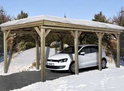carport bois neige