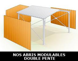 Abri métallique modulable à double pente