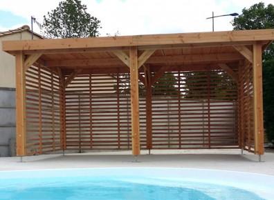des ossatures en bois douglas avec pignon de 5 m pour garer la voiture france abris. Black Bedroom Furniture Sets. Home Design Ideas