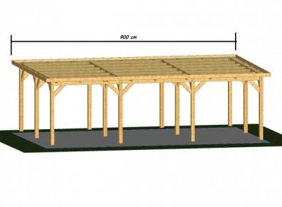 ossature bois avec pignon 9 m et toit plat pour faire des carports france abris. Black Bedroom Furniture Sets. Home Design Ideas