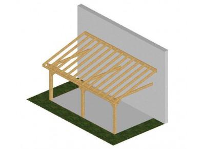 ossature bois 1 pente adoss e pignon 3m france abris. Black Bedroom Furniture Sets. Home Design Ideas