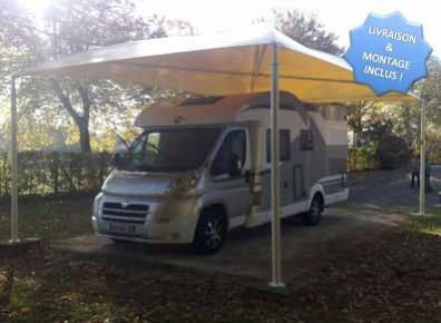 abri camping car avec structure acier et toile pvc tendue dmontable