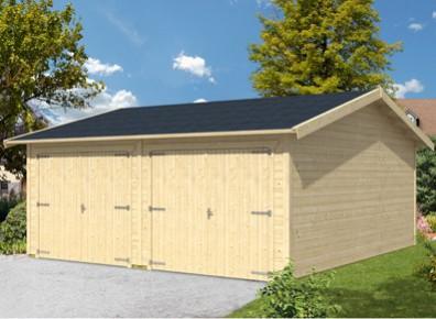 Espace double, en bois, avec 2 portes, voici le garage 2 voitures