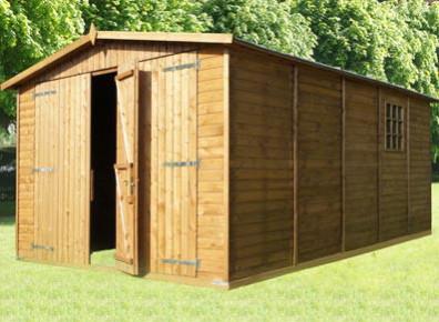 Garage bois garages kit panneaux ou madriers promo for Garage bois traite autoclave