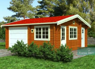 Abri Garage En Bois Traité Avec Un Atelier Intégré à La Maison