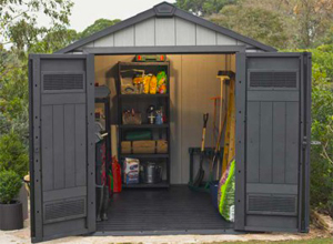 abri jardin en résine PVC aspect bois foncé