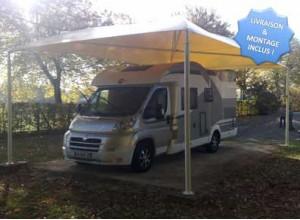 carport camping-car et caravane en métal et toile PVC