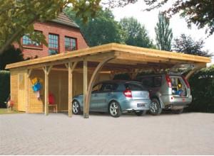 abri auto en bois, auvent voiture bois