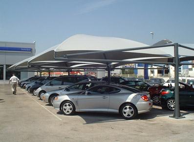 Carports toile pour concessionnaires ou location de véhicules