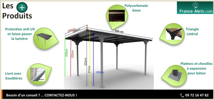 Les + Produits - Carport voiture en Alu toit plat