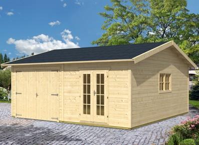 garage voiture bois madrier de 45m avec 2 compartiments. Black Bedroom Furniture Sets. Home Design Ideas