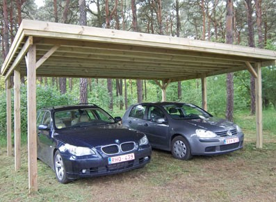 carport double en bois toit plat pas cher port 0. Black Bedroom Furniture Sets. Home Design Ideas