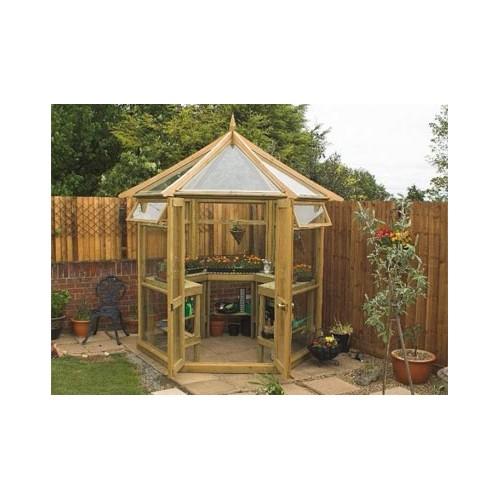serre en bois hexagonale verre tremp pour votre s curit. Black Bedroom Furniture Sets. Home Design Ideas