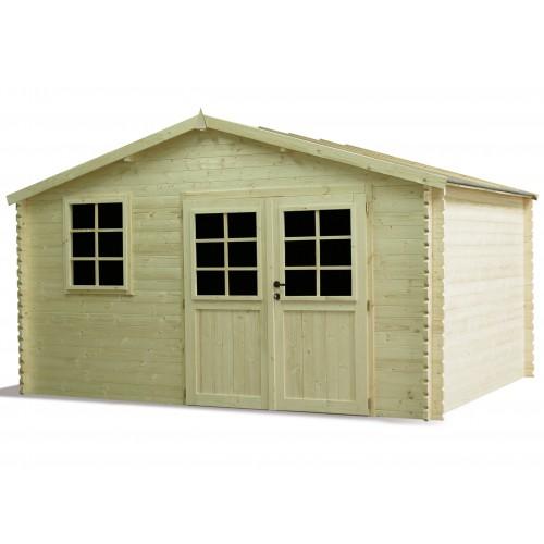 Abri de jardin en bois madrier double porte avec fenetre for Porte bois abri jardin