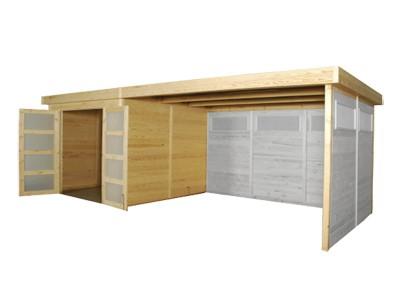 Abri de jardin en bois panneau avec extension 3 28 x 2 62 m - Abri de jardin avec extension ...
