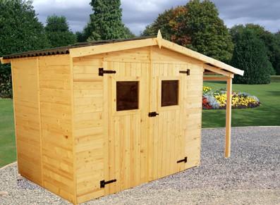 Abri de jardin en bois avec structure en panneau 16 mm avec extension b cher - Abris jardin discount ...