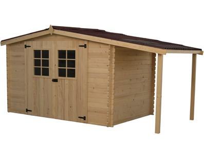 cabanon de jardin en bois avec b cher. Black Bedroom Furniture Sets. Home Design Ideas