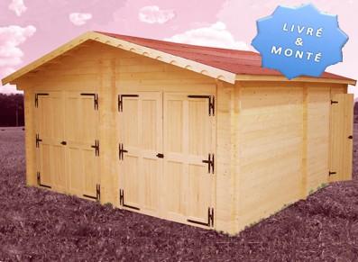 garage deux portes madrier 60 mm x m. Black Bedroom Furniture Sets. Home Design Ideas