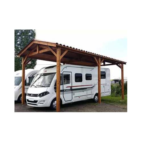 Abri toit double pente en bois douglas pour camping car for Abri auto bois