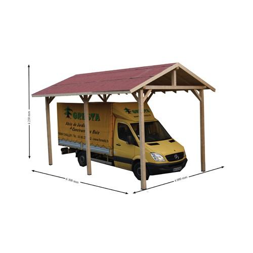Abri camping car 1 place en bois sapin du nord for Abri auto bois