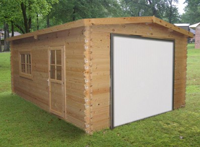 Garage bois porte basculante serrure et porte lat rale for Fenetre hangar
