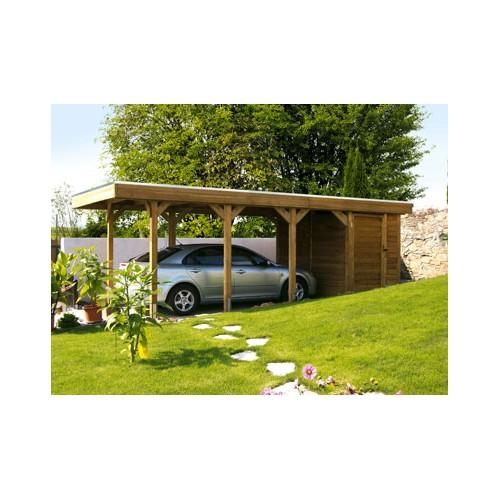 Abri auto simple en bois avec abri de jardin inclus for Abri auto bois
