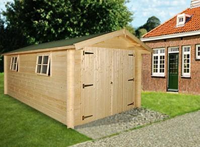 garage bois 18 m2 madrier 28 mm un abri voiture moins. Black Bedroom Furniture Sets. Home Design Ideas