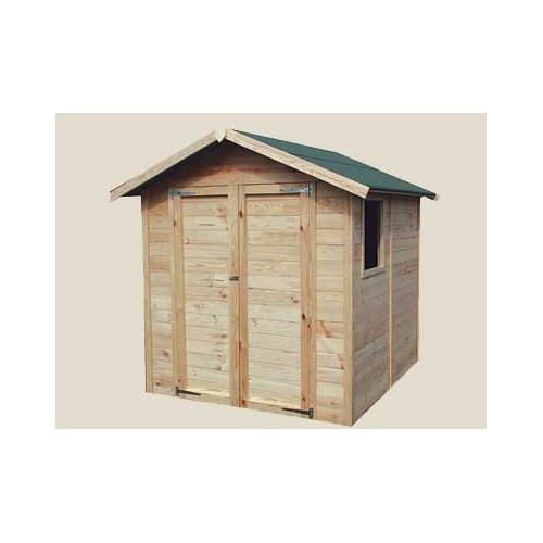 Abri en panneau bois 19 mm porte double et fen tre incluse for Porte double cabanon