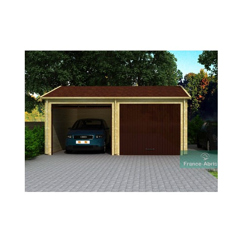 garage double bois madrier de 44m pour 2 voitures pictures. Black Bedroom Furniture Sets. Home Design Ideas