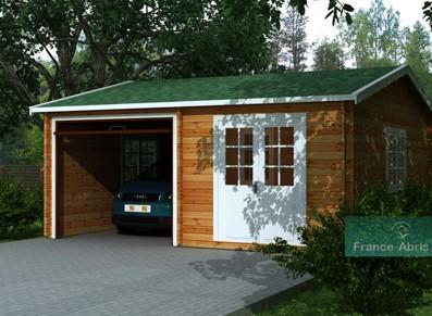 Garage voiture bois madrier de 44m avec atelier 2 en 1 - Garage bois en kit leroy merlin ...