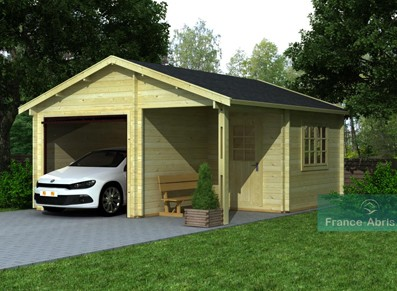 garage voiture bois madrier de 44m avec terrasse et. Black Bedroom Furniture Sets. Home Design Ideas