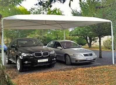 abri voiture abri toile avec armature en acier galvanis finition peinture blanche. Black Bedroom Furniture Sets. Home Design Ideas