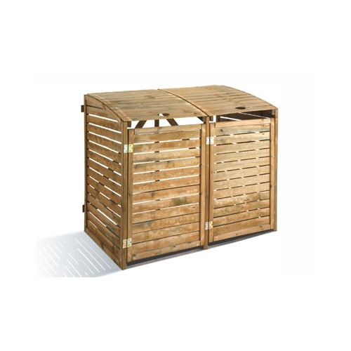cache poubelles double en bois x x m. Black Bedroom Furniture Sets. Home Design Ideas