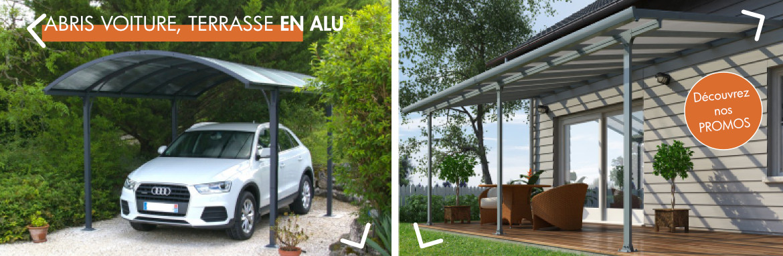 Toute une gamme d'abris - du carport, au garage en passant par la terrasse - en aluminium
